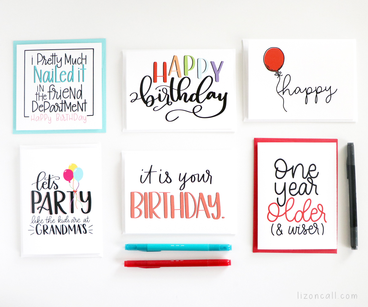Sending a quick note to a friend or family member for any occasion just got easier with these Hand Lettered Cards. Hand Lettered birthday cards
