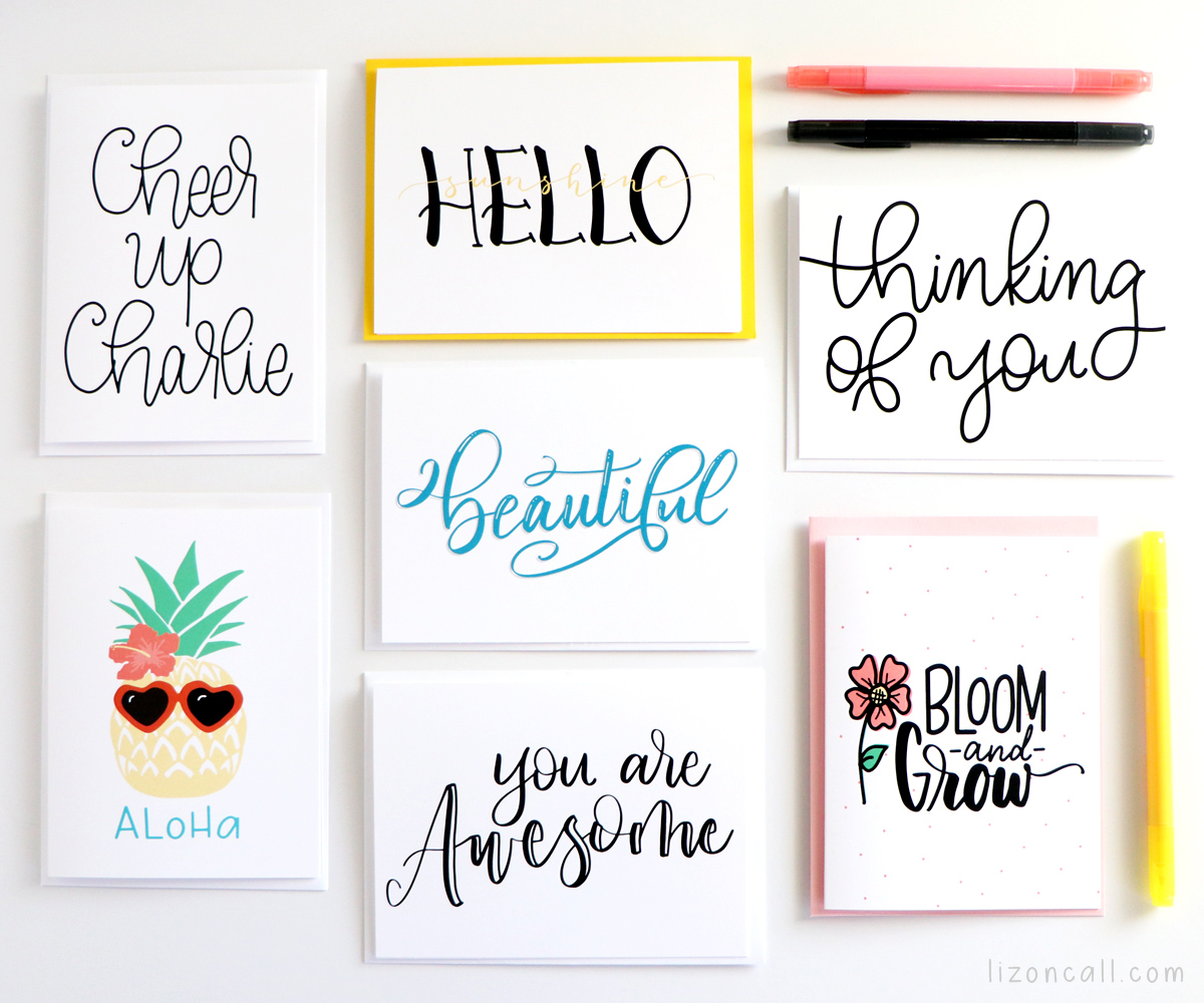 Sending a quick note to a friend or family member for any occasion just got easier with these Hand Lettered Cards. Hand Lettered everyday occasion cards