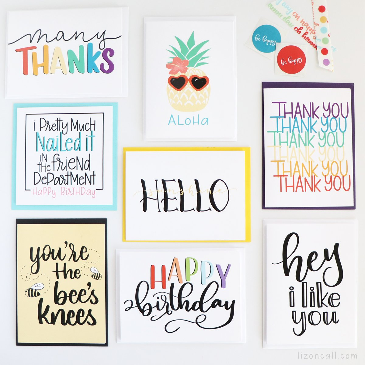 Sending a quick note to a friend or family member for any occasion just got easier with these Hand Lettered Cards. Variety pack with Birthday, thank you and everyday cards.