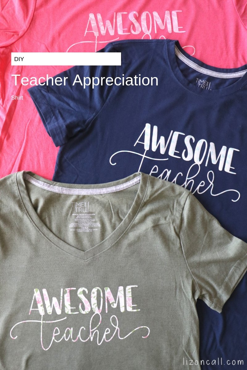We made these DIY Teacher Appreciation Shirts for the teachers this year just in time for Teacher Appreciation Week, easy Teacher Appreciation gift. #teacherappreciation