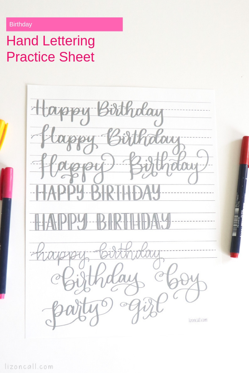 Try your hand with this Birthday Hand Lettering Practice Sheet and you'll be ready to make all the best Birthday cards and hand lettered gifts.