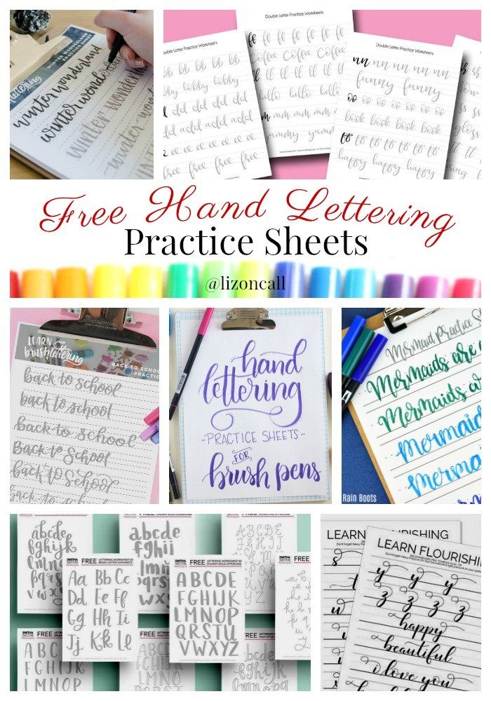 25 Free hand lettering worksheets