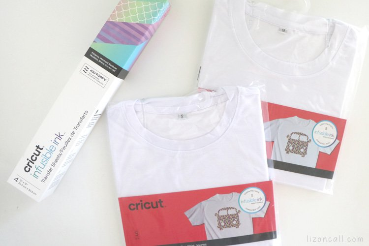 A box of Cricut infusible ink next to 2 blank t-shirts