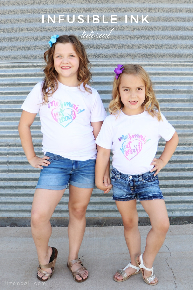 2 girls wearing mermaid at heart t-shirts made using Cricut Infusible Ink products