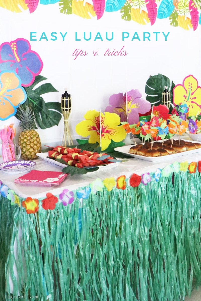 Titled image of Luau party table