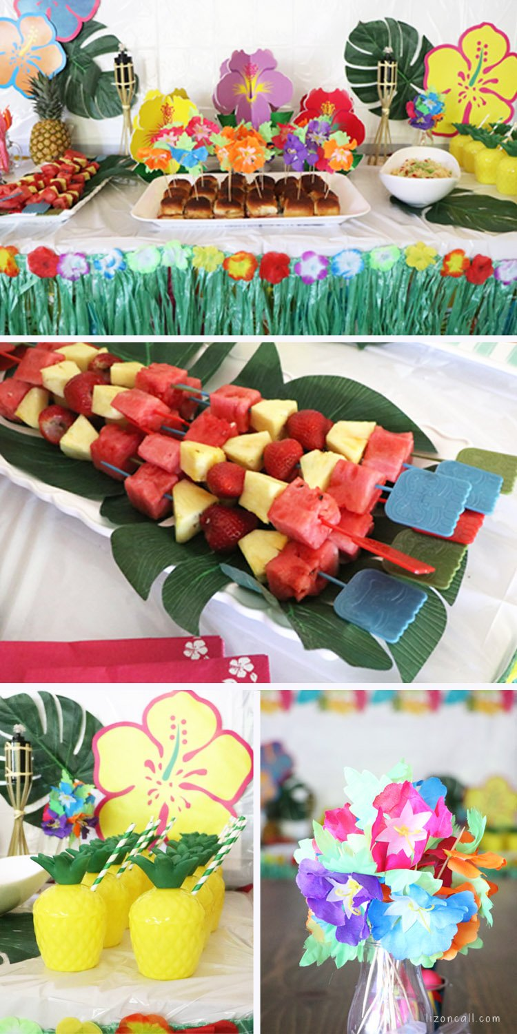 Collage of 4 photos showcasing food from a luau party. Sliders, fruit skewers, party punch and centerpieces.