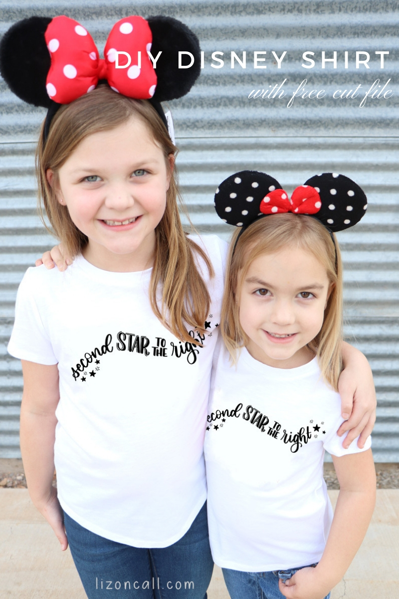 Titled photo of 2 girls wearing DIY Disney shirts - Second Star to the Right.