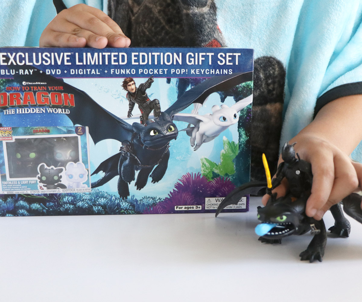 Close up of How to Train your Dragon 3 exclusive DVD gift set from Walmart next to How to Train Your Dragon toys.