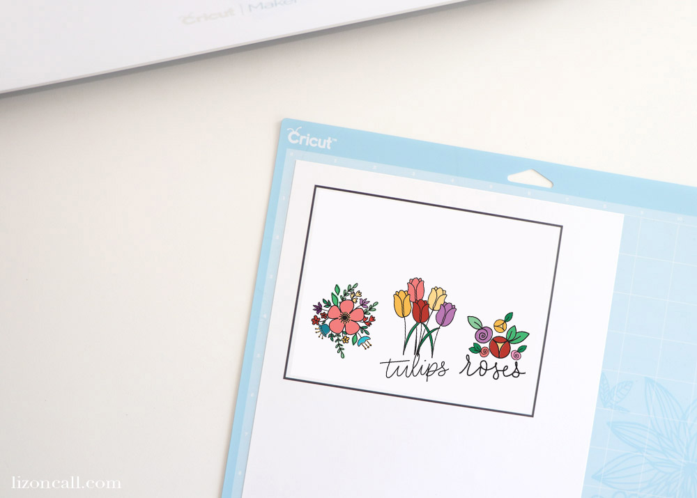 Floral Bookmarks ready for Print and Cut on a Cricut Cutting mat