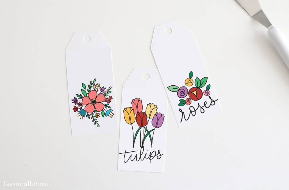 3 Floral Bookmarks ready for tassels