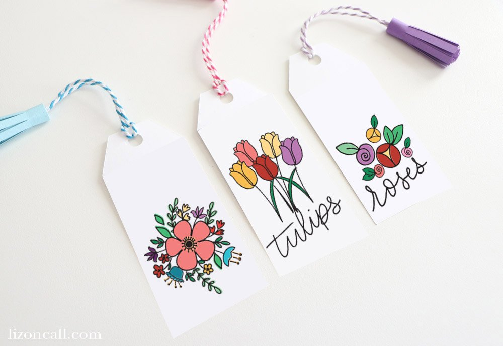 3 Print and Cut Floral Bookmarks