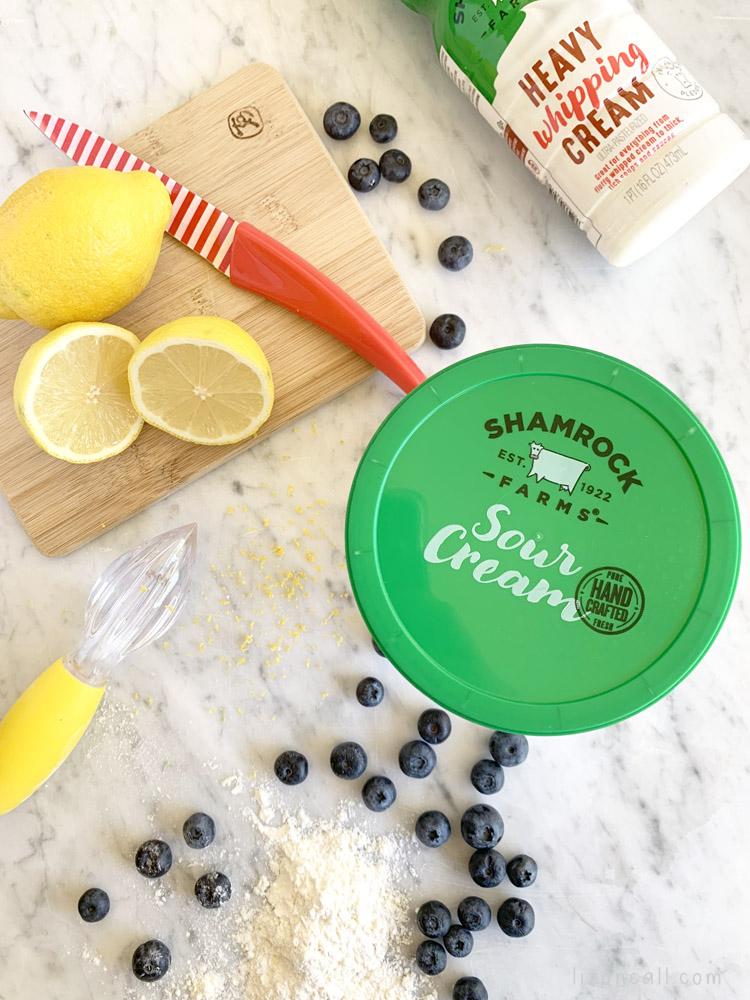 overhead shot of ingredients for lemon blueberry scones