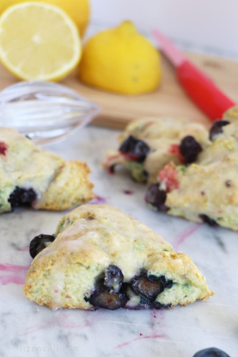 plated lemon blueberry scones