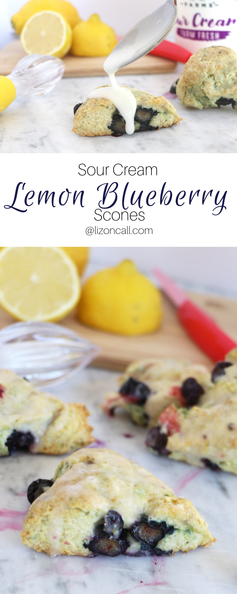 pinnable titled image lemon blueberry scones plated next to sour cream container