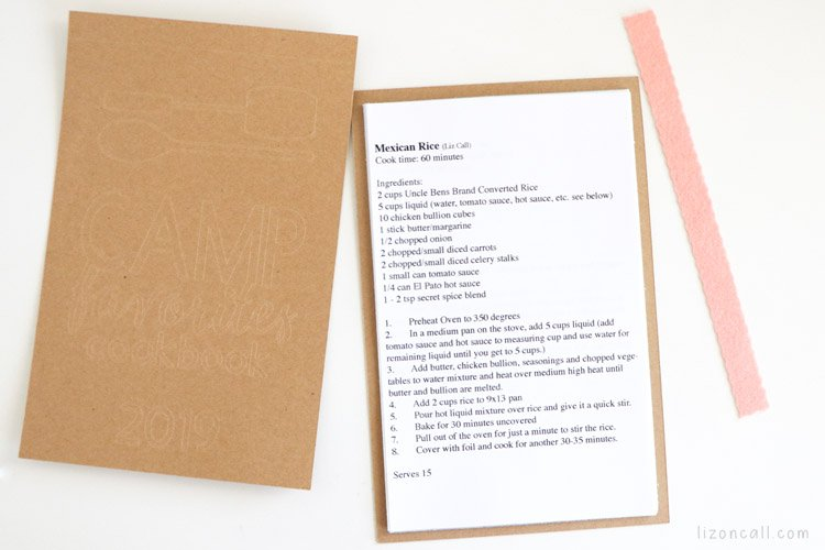 recipes printed on cut down paper placed inside memory book cover and back cover