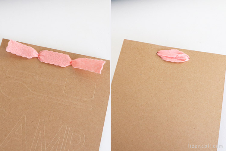 front and back view of ribbon in the top of the memory book