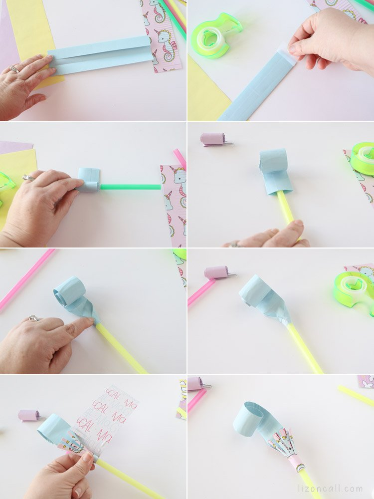 All the steps to make a party blower in photo format