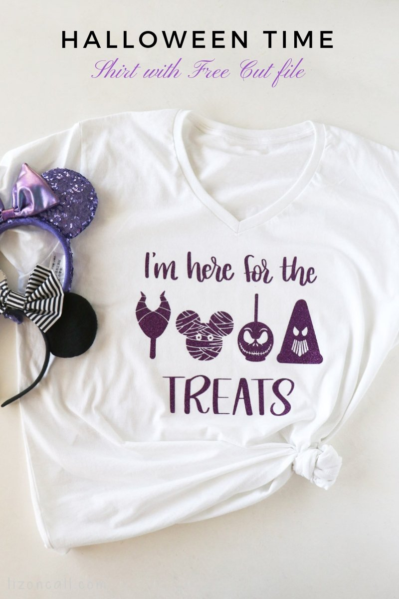 Titled image of glittered halloween time treats on a shirt