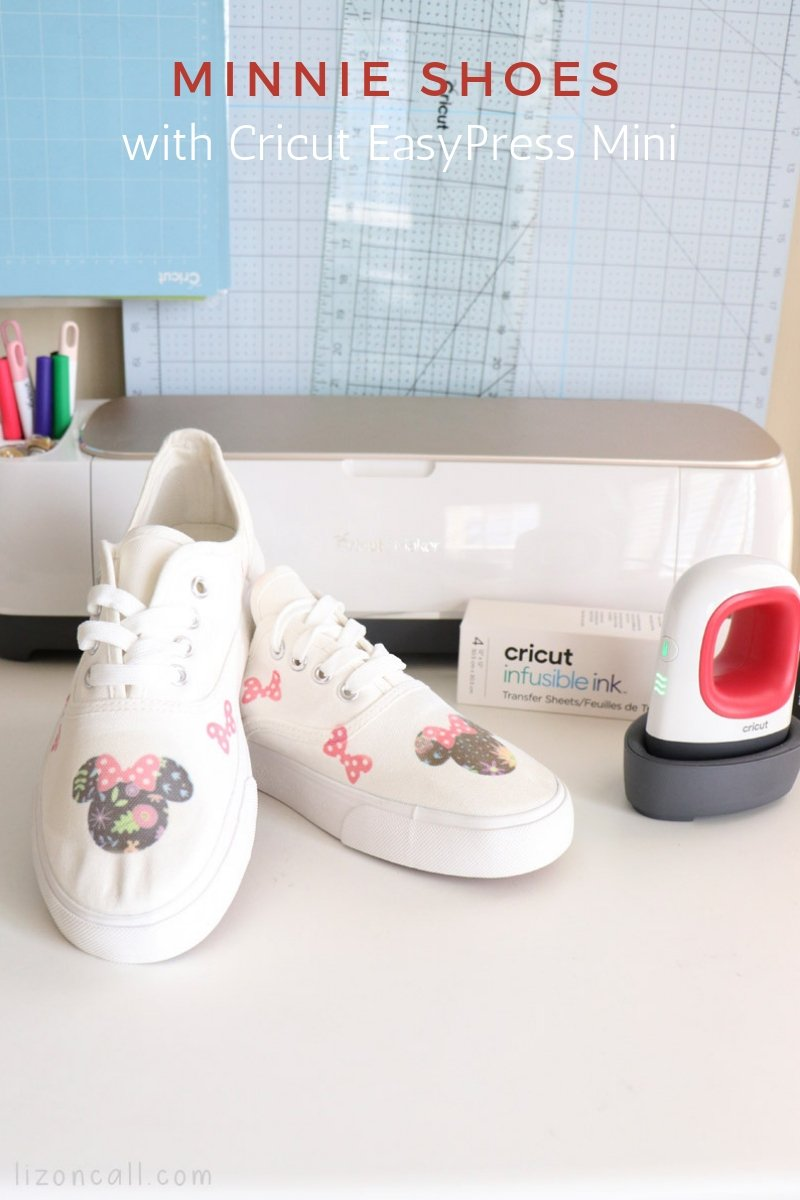 titled image, sneakers with minnie mouse designs next to a cricut maker and cricut easypress mini