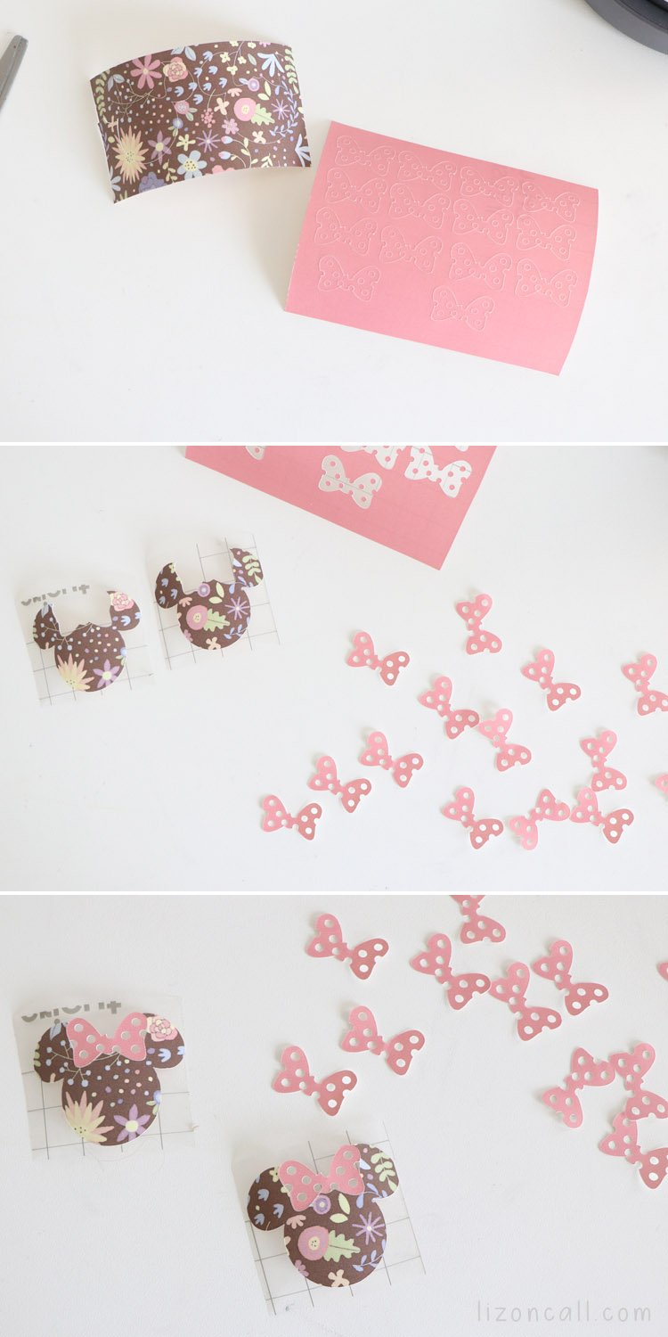 Infusible Ink transfer sheets cut into Minnie heads and Minnie bows