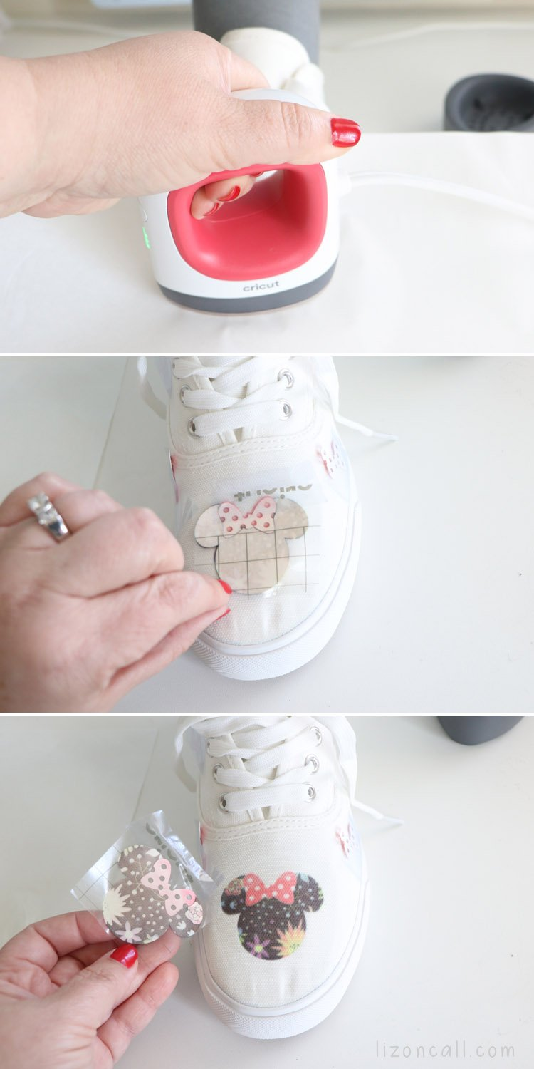 EasyPress Mini pressing infusible ink onto canvas shoes