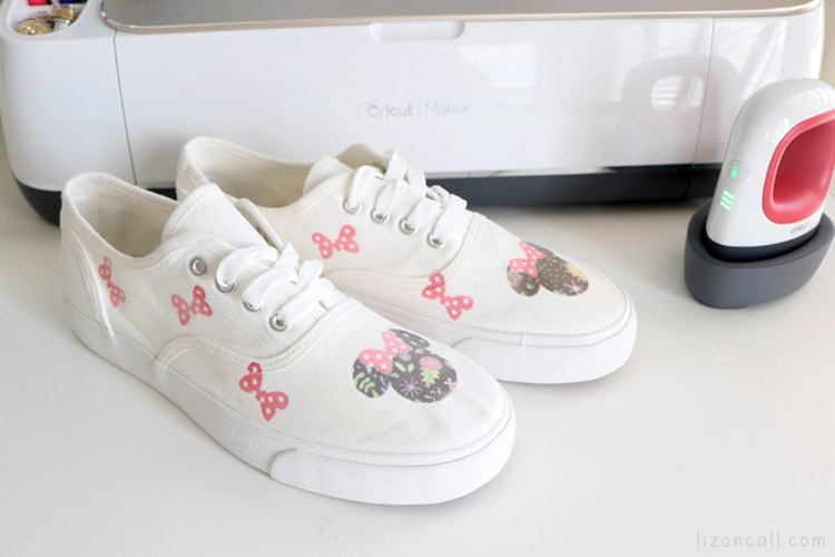 sneakers with minnie mouse design next to cricut easypress mini