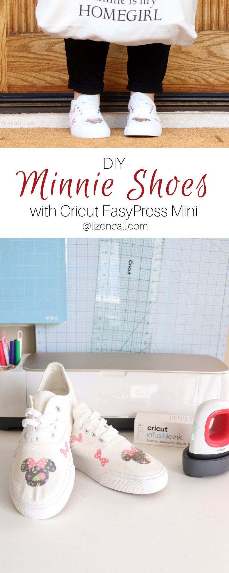 titled pinnable image DIY minnie mouse shoes made with infusible ink and easypress mini