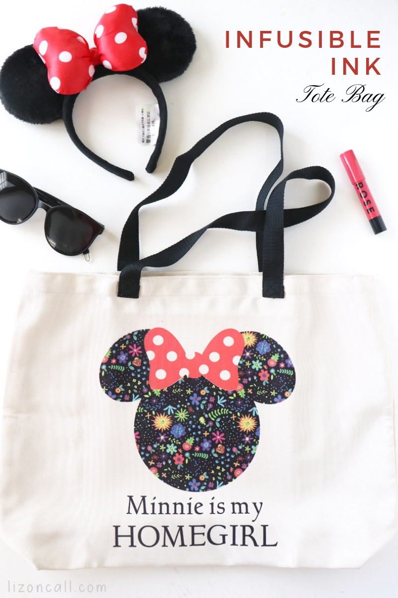Titled Image overhead shot of Minnie Mouse tote bag using Cricut Infusible Ink