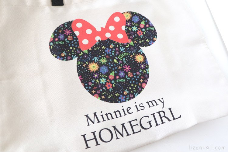 Close up of Infusible ink Minnie Head design on Cricut infusilbe ink tote bag