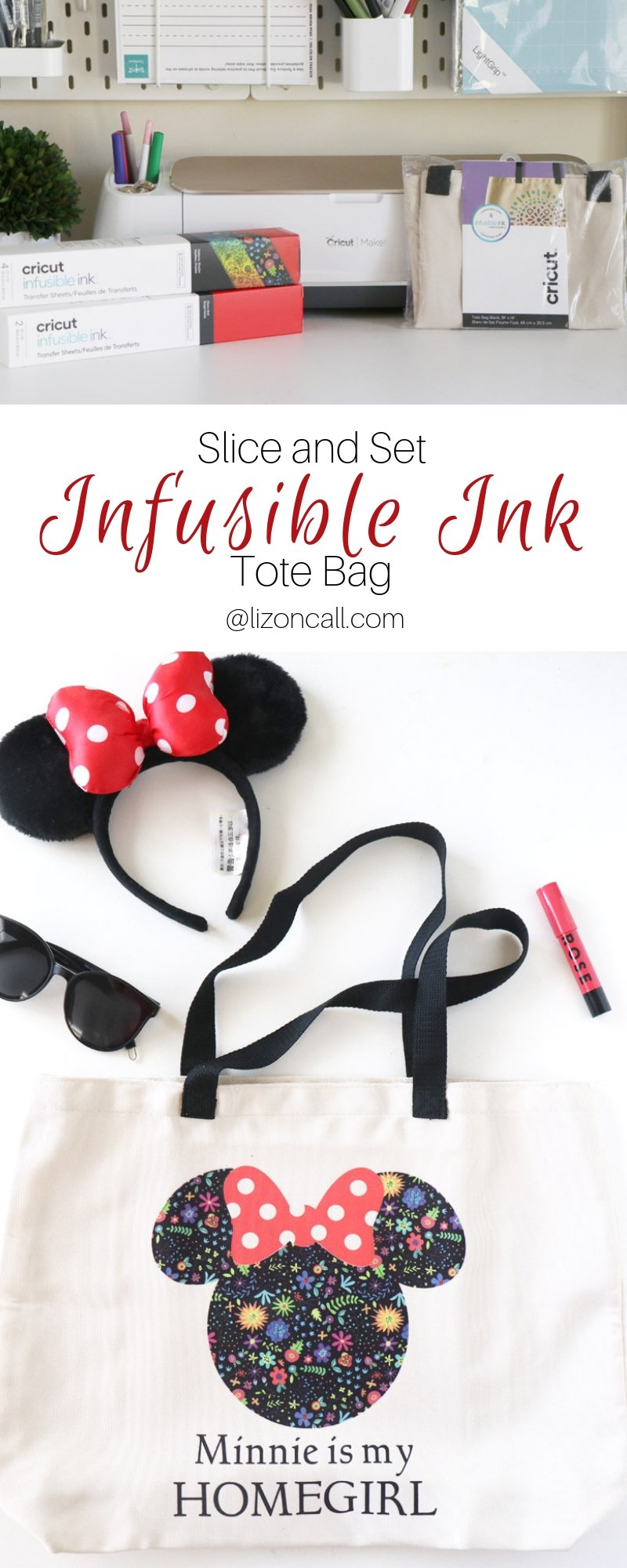 Titled pinnable image of Cricut Infusible Ink Tote bag.