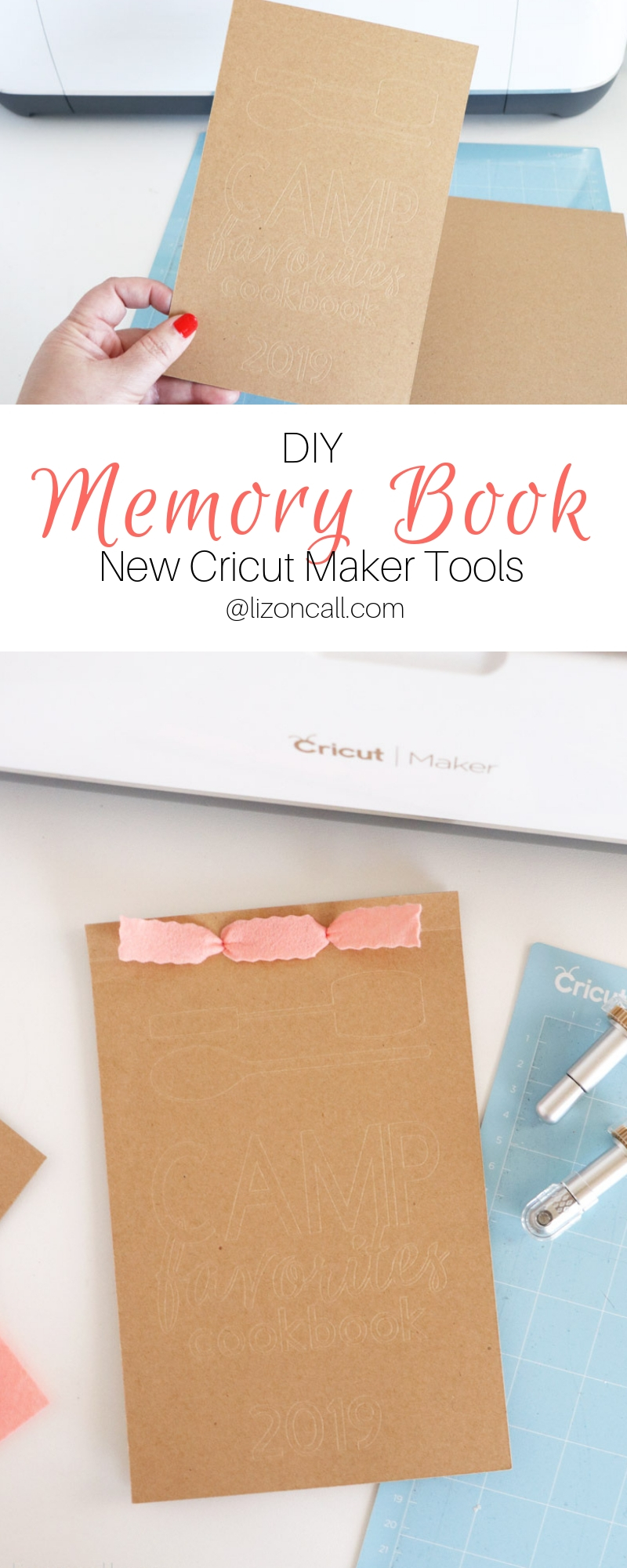 titled pinnable image memory book with debossed cover and wavy edge felt ribbon