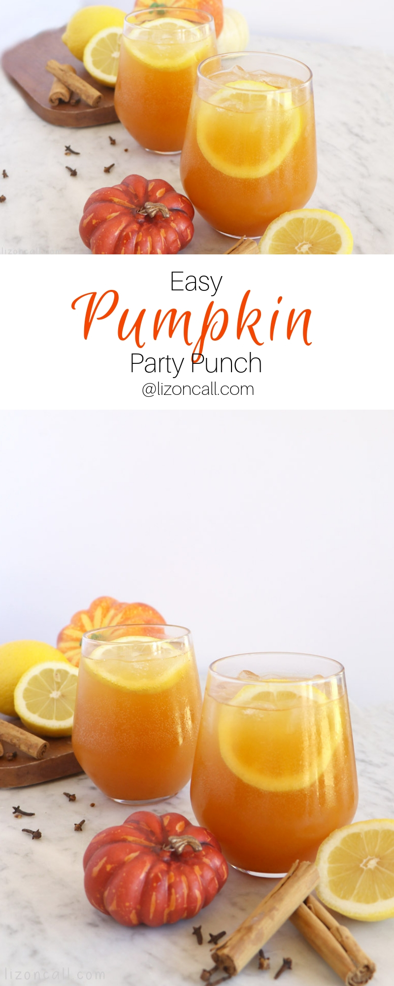 Titled pinnable image glasses of pumpkin party punch garnished with lemons and cinnamon sticks