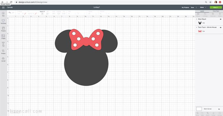 Cricut Design Space Minnie ears sliced project