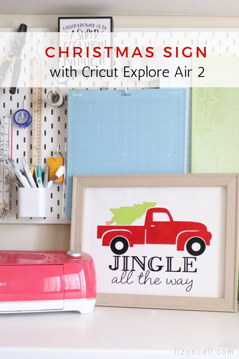 Titled image of reverse canvas craft with vintage truck with tree in back that says Jingle all the way
