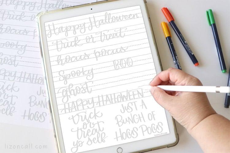 Halloween Hand Lettering Practice Sheet on iPad