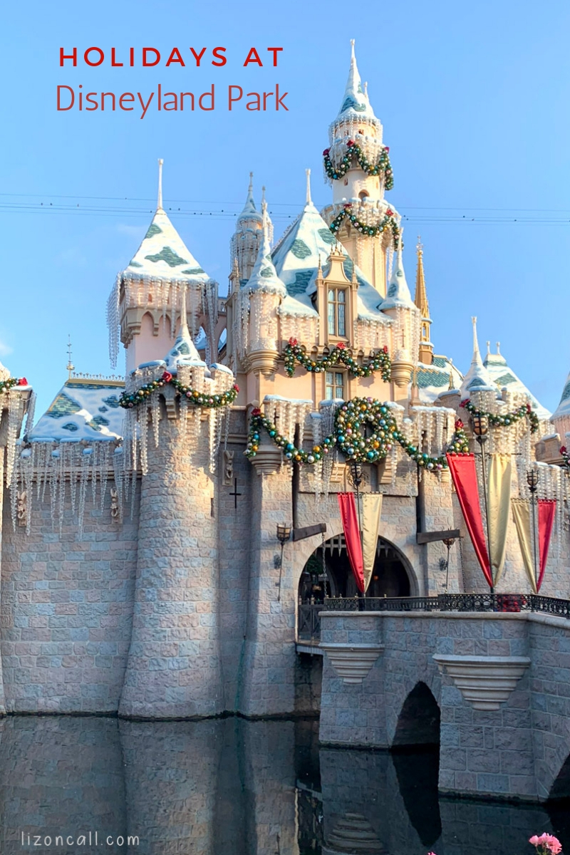 Titled image Disneyland Castle decked out for the holidays