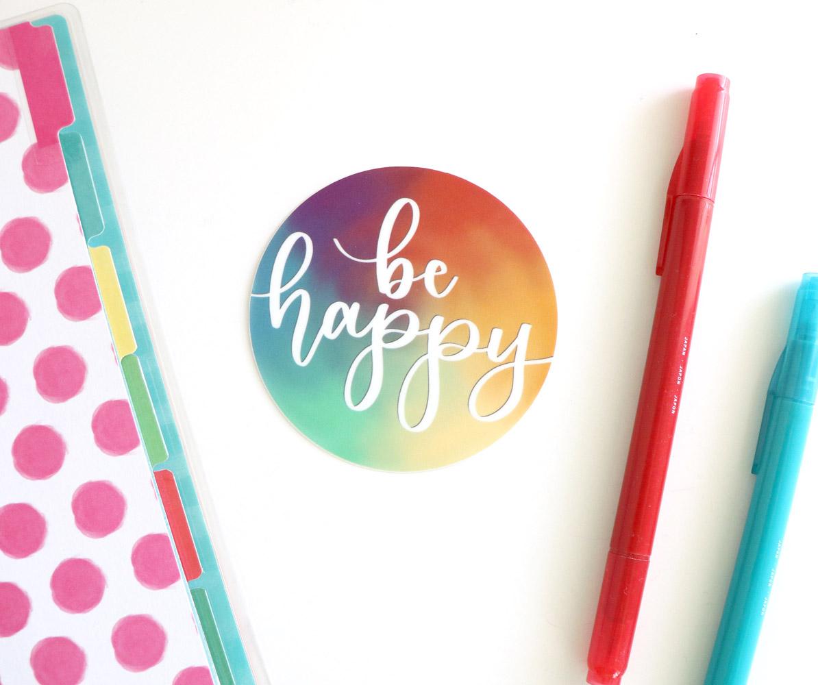 Be Happy Colorful circle vinyl sticker