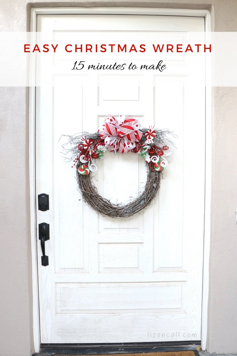 Titled image Christmas Wreath on White front door