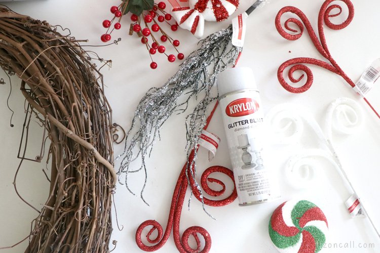 overhead picture of wreath making supplies