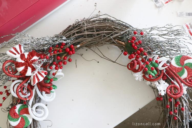 grapevine wreath decorated and ready for bow