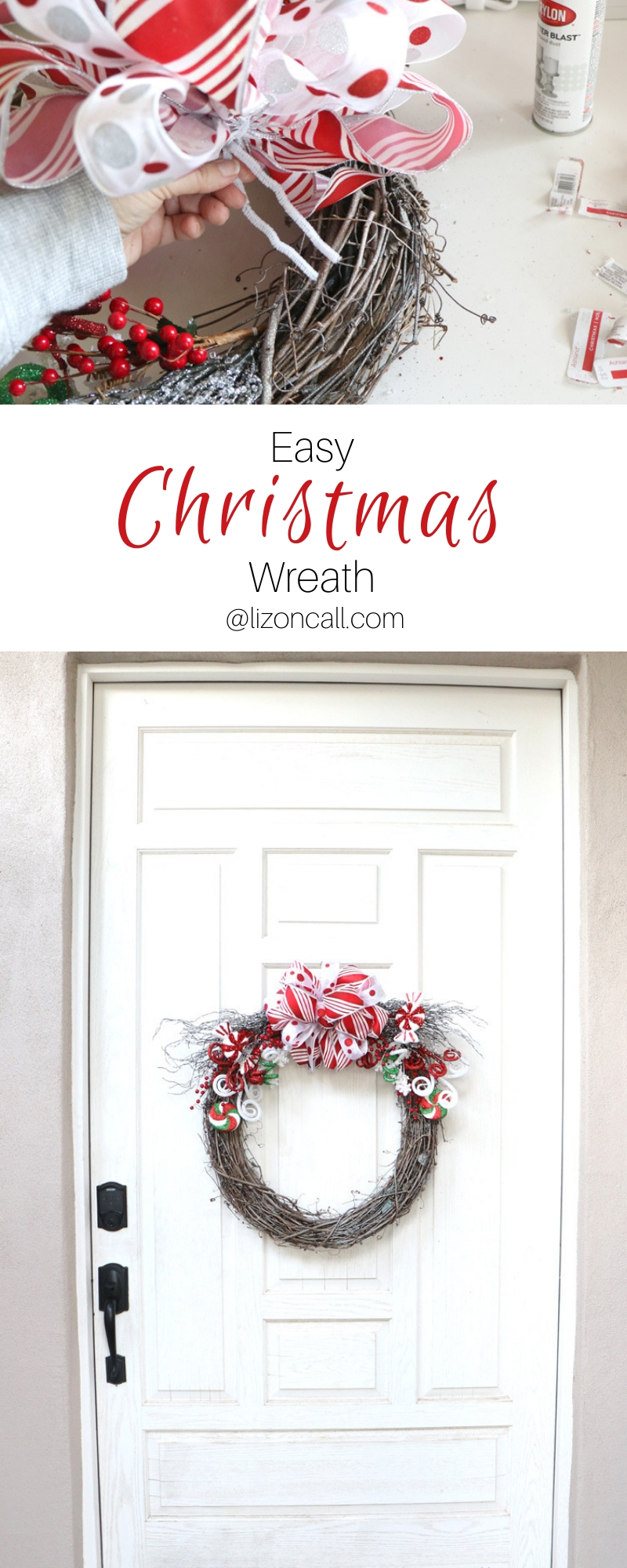 pinnable titled image holiday wreath on a white door