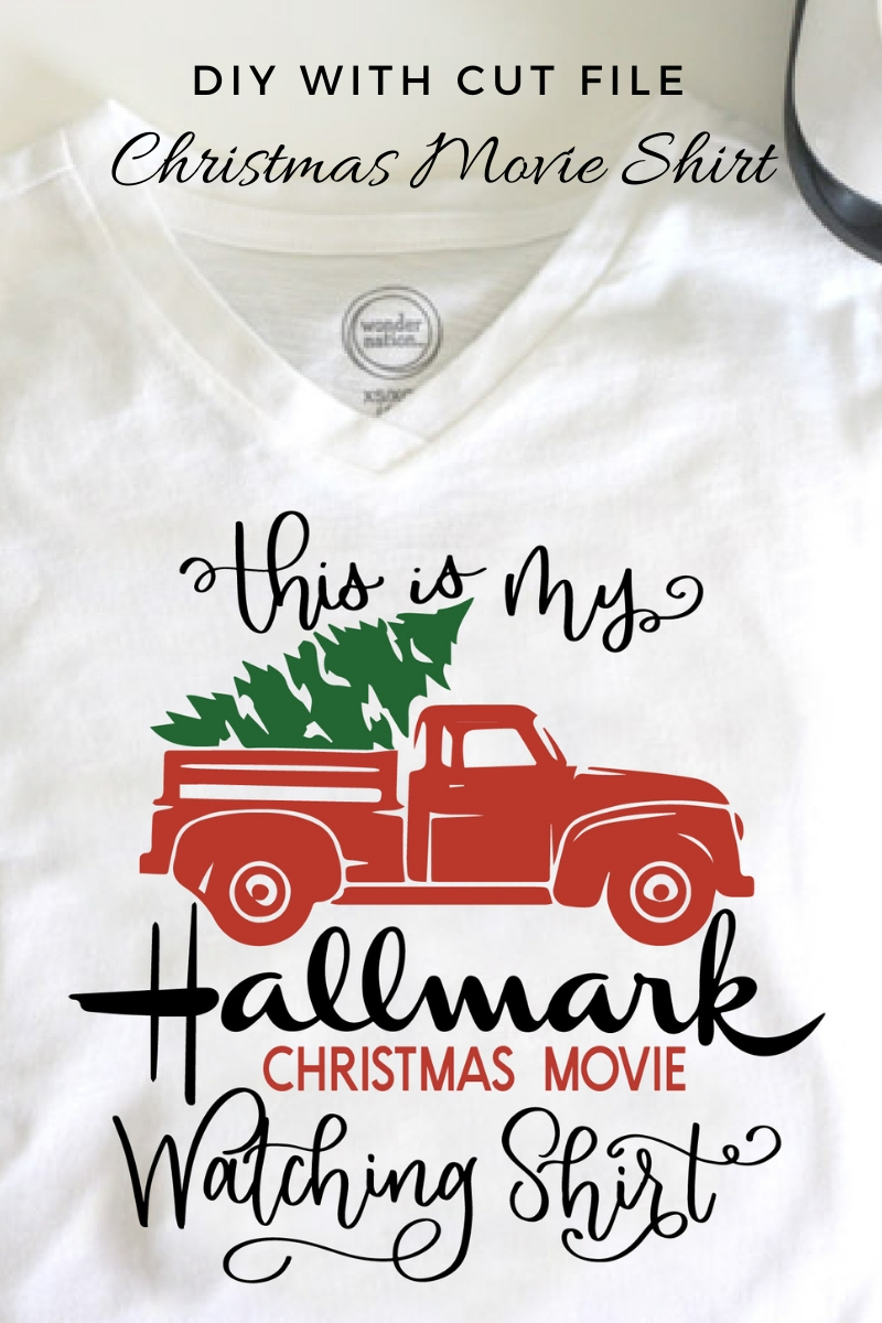 This is my Christmas Movie Watching shirt with a vintage truck and tree design.