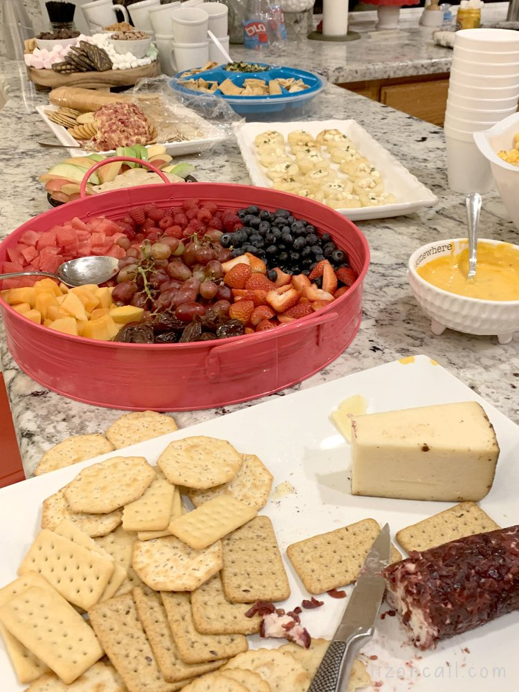 Girls Night snack food spread. Various appetizers
