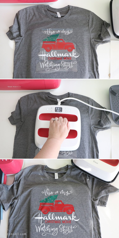 Steps to making Christmas movie watching shirt