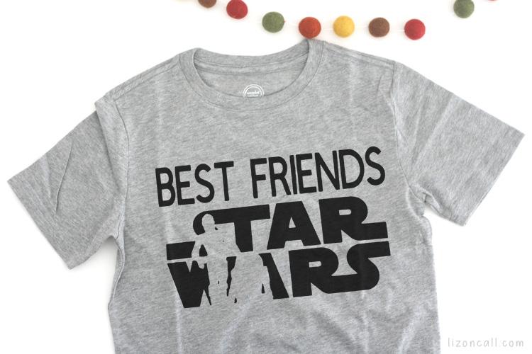 Best Friends Star Wars Droid T-shirt design on a gray t-shirt