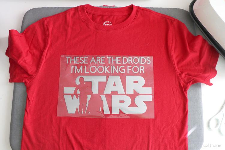 star wars iron on vinyl design on a red t-shirt