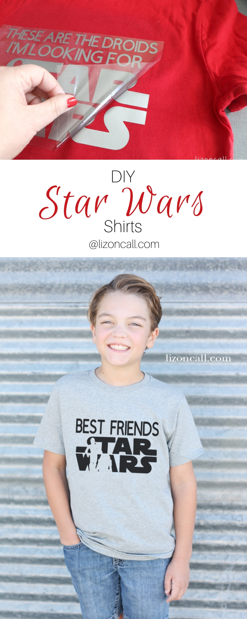 pinnable titled image of Star Wars DIY shirts of droids