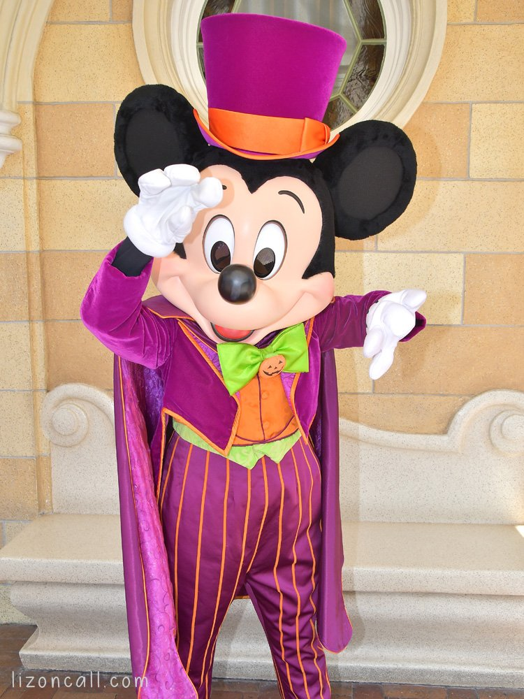 Mickey Mouse dressed in his Halloween costume