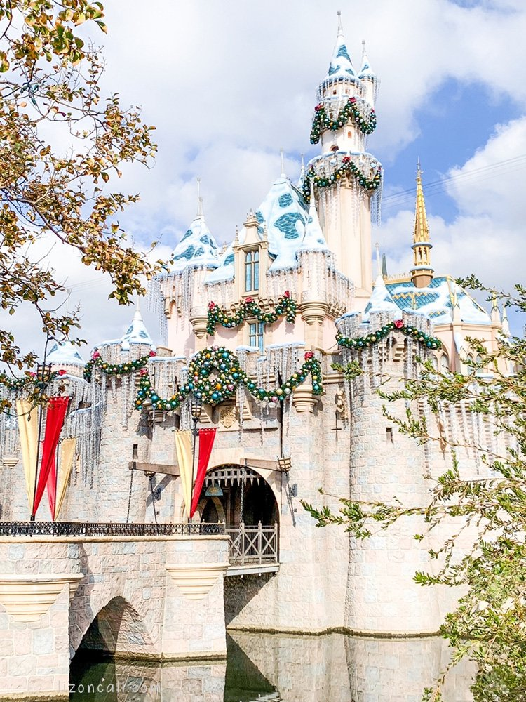 Disneyland Castle decorated for the Holidays