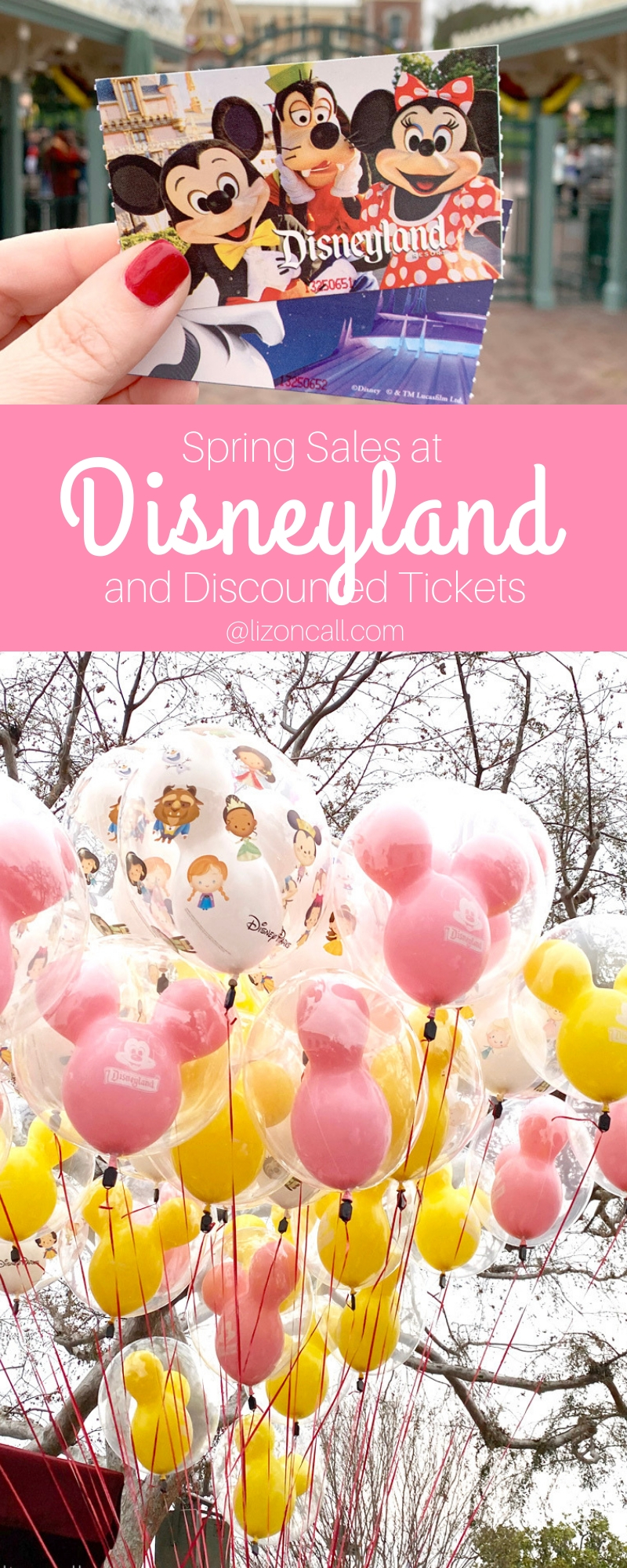 titled pinnable image of Disney tickets and spring colored mickey balloons